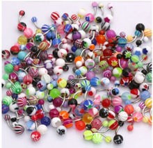 100pcs/lot Colorful Stripes Ball Acrylic Belly Button Navel Ring Body Piercing Jewelry Wholesale
