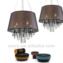 2012 hot sell classic crystal febric hanging ceiling pendant chandelier