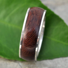KOA Wood Inlay Titanium Ring,Anti-allergic Wood Jewelry 100% Nickel Free Wood Titanium Ring