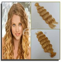no chemical deep wave virgin hair #613 blonde color nano ring hair extension for women