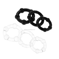 C002/Bulk rubber stay hard delay head triple beaded cock and ball penis rings