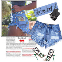 Designer classical ladies short jeans skirt