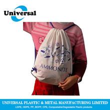 Disposable plastic cute drawstring backpack bag