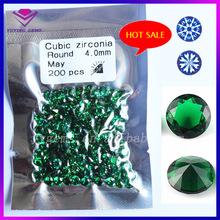 Wuzhou Factory Price Small Size Birthstone Machine Brilliant Cut Round Green CZ Stone