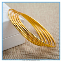 MECY LIFE 2015 wholesale high quality yellow copper plated 22k gold bangle bracelet