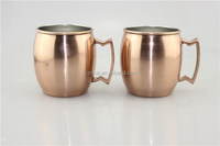 wholesale hot sales 16oz stainless steel copper planted moscow mule mugs/450ml bpa free stainless steel solid copper beer mug