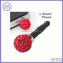 3.5mm red rhinestone phone dustproof plug jewelry made in China
