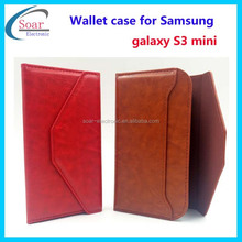 Wholesale wallet card slot case for Samsung galaxy S3 mini,leather case for Samsung galaxy S3 mini