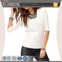 cream pearl fancy stylish crew neck knitted lady sweater with 1/2 length sleeves