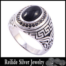 2015 new model DF121781 hand rings black oval shaped agate ring