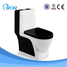 Siphonic chinese manufacturer design one piece sanitary ceramic black color toilet