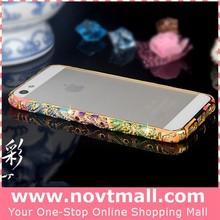 2015 aluminum mobile phone accessories for iphone 5 bumper case rhinestone, metal bumper mobile phone case for apple 5s