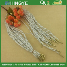 White and Gold Color Draws Cord with metal tip For Sportwear or Shoes -- H1568