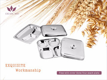 With cover 4 compartment stainless steel food tray