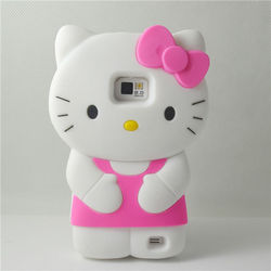 soft silicone 3d hello kitty cartoon cute case for samsung galaxy s2 rubber cover