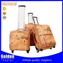 map print PU leather travel trolley luggage hot sale for 2015