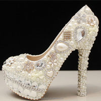 2014 New Design Crystal And Pearls High Heel Shoe Bridal Shoes