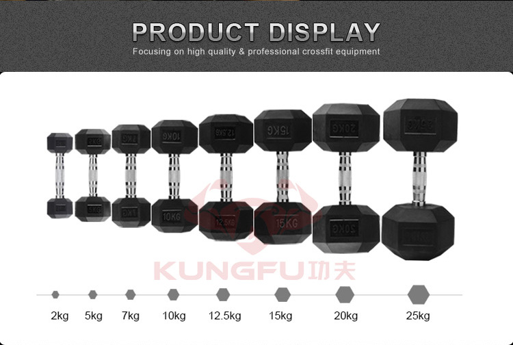 100 Pure Black Hex Rubber Dumbbell Weights Set For Sale
