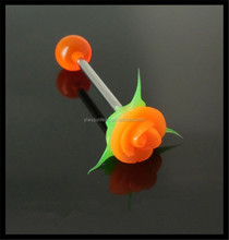 "New 14g Orange Rose Silicone Flower 5/8"" Tongue Ring Barbell Comfortable Jewelry"