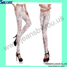 2013 Hot Sale Floral Printed Denim Jeans Fresh Sexy Women Flower Pictures of Trousers for Women (LSWPG6030)