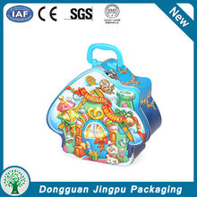 Child metal toy style lunch tin box with lock and key