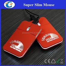 Red Slim Mini Wired Mouse With White LED Color Lighting Up