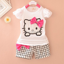 2pcs Children girl kids Summer Outfit Hello Kitty Top Shirt + Grid Pants Set kids clothes suits toddler girl clothing