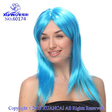 2015 Wholesale cheap 100% Polyester sky blue long straight wig
