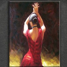 Spanish Flamenco high quality pallet knife oil painting dancing girl
