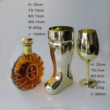 elegant handmade customized gold silver and pink coated gold rimed French Moet and Chandon Champagne wine glasses