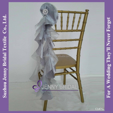 C147G silver organza wholesale chair sashes with buckle