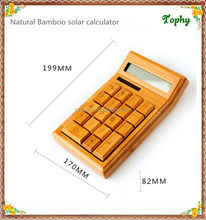 Professional Financial business bamboo wooden Calculator solar style and pen with factory price