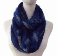 Snood new leopard pattern acrylic feather yarn knit infinity scarf