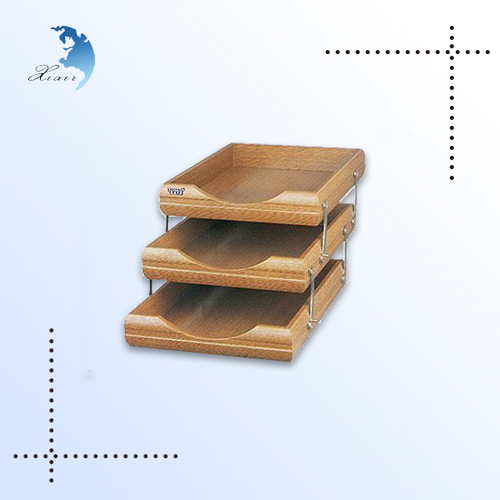 Unique design decorative handmade office desk top wooden for Decorative stacking letter trays