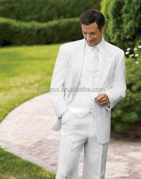 Llano blanco dos botones side vent novio a medida para for Trajes de novio blanco para boda