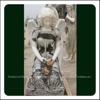 Natural Stone Angel Kneeling Statue