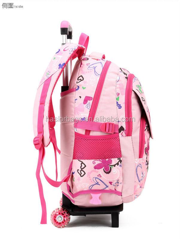 2015 nouvelle conception belle sac à roulettes de l'école pour les filles de l'école