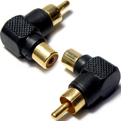 3 x RCA MALE TO FEMALE RIGHT ANGLE 90 DEGREE ADAPTER - PHONO PLUG TO SOCKET