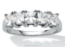 Women White Gold Filled 3A zircon Princess Cut ring hot sell