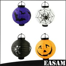 Halloween accessories,led portable hanging paper pumpkin lanterns with 4 colors