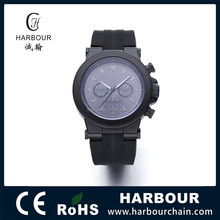 Mens Rubber Band Stainless Steel Back Quartz Quality Watches for Promotion