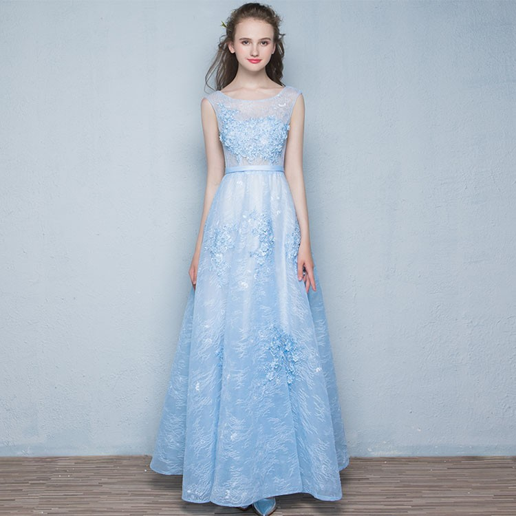 Blue Embroidery Beaded Beautiful Designer Evening Gowns For Girls ...