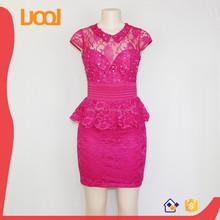 Wholesale Magic Rose Lace Chiffon Office Lady Formal Dress