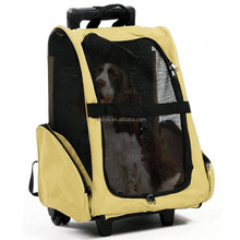 Pet gear roller backpack for cats and dogs pet luggage