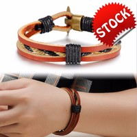 Casual Sporty Men Leather Bracelet Allergy Free Alloy Cheap Price Deep Brown Jewelry Bangle