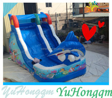Painting Sea World Dolphin Inflatable Slide for Commercial Use