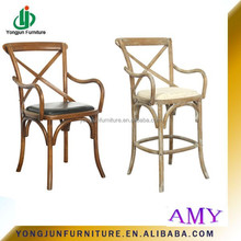 2015 Hot sale Factory Direct Stackable Cross Back chair, Solid wood Oak Wood Cheap Armrest Rattan X Cross Back Dining Chair