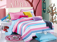 100% Cotton Colorful stripes bedding sets luxury Full/Queen/King Size Bed Quilt/Doona/Duvet Cover Pillowcases Set