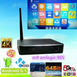 Newest Amlogic S905 Quad Core Google Androi 5.1 Lollipop Android Tv Box M9 S905 2Gb/8Gb Kodi Bluetooth Dual-Band Wifi 4K 2K