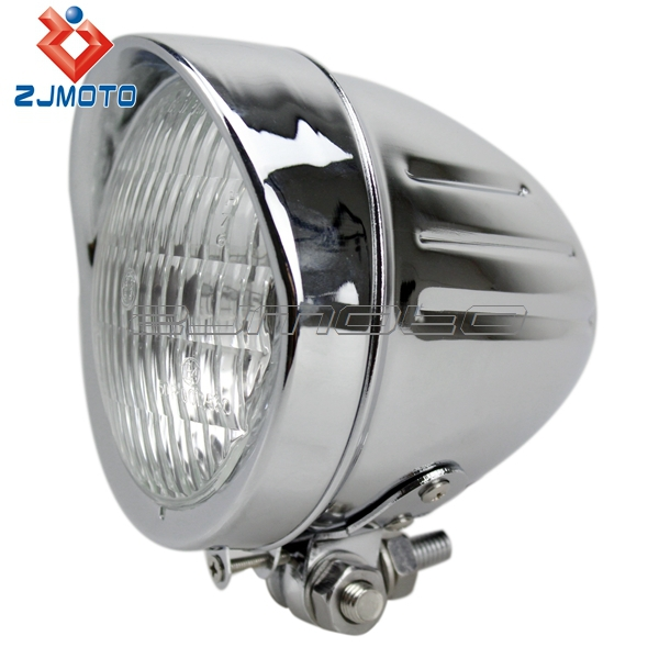 Motorcycle 4 5 U0026quot  Chrome Custom Scalloped Metal Headlight Lamp Parts Wholesale Lamp From China For